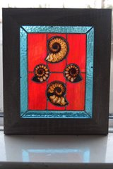 Stained glass panel with ammonites.